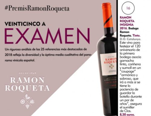 The wine magazine Fuera de Serie rates Ramon Roqueta Insignia as one of Spain's 25 best wines in 2018